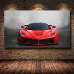 Modern Art Red Sports Car Super Car Poster Print Wall Art Pictures Painting Wall Art for Living Room Home Decor (No Frame)