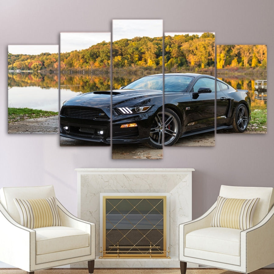 Modular Pictures For Living Room Home Decor Frame Modern Wall Art 5 Pieces Canvas Poster Ford Black Sports Car Painting PENGDA