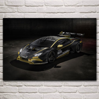 huracan super car race tuning vehicle sport machine artwork living room home wall art decor wood frame silk fabric poster KN370