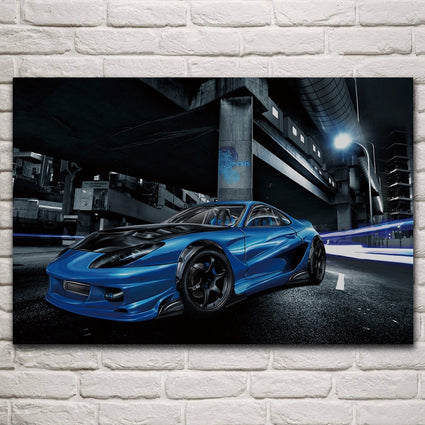 Cool coloring Street Race Car fantasy artwork living room decoration home wall art decor wood frame fabric posters KM384