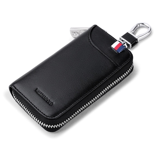 WilliamPolo Key case men's multifunctional key chain men coin purse large capacity universal car key storage bag Cowhide Leather
