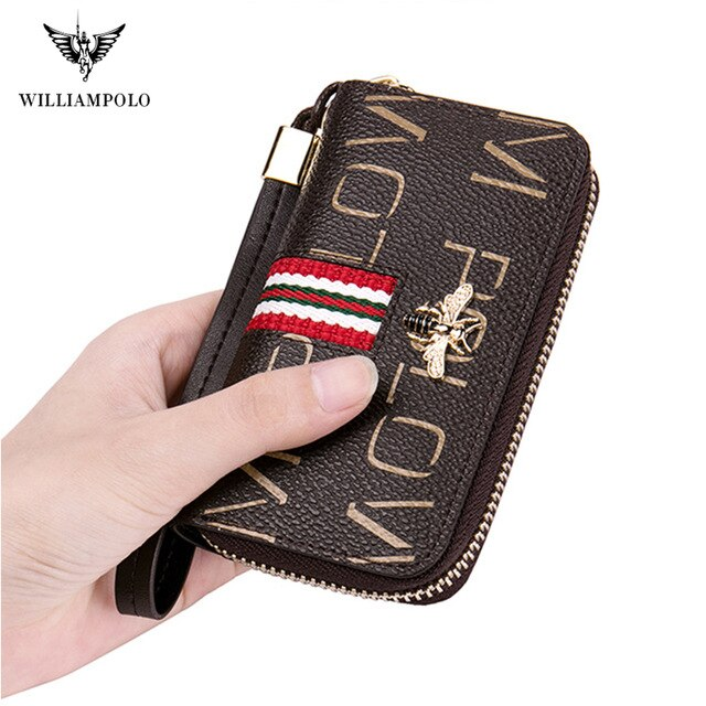 Williampolo key bag women's leather multifunctional detachable key ring zipper Coin Purse large capacity key chain car key box