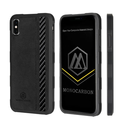MONOCARBON Carbon Fiber + Alcantara Case for iPhone X XS XR XS Max Anti Shock Proof Cover Style - Drop Tested