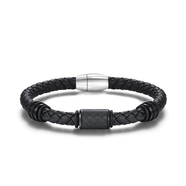 New Carbon Fiber Men's Bracelet Leather Braided Bangle Magnetic Office Style Wristband for Men Boyfriend Jewelry Gift 8.5Inch