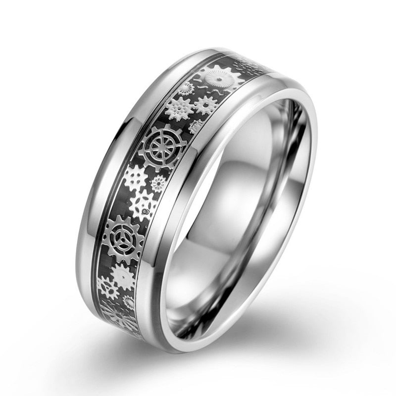Men Ring Titanium Steel Wedding Band with Mechanical Gear Wheel&Light Blue Carbon Fiber Inlay Beveled Edges Comfort Fit