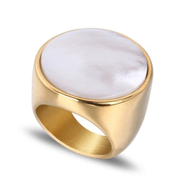 Hip Hop Nutural White Shell Round Ring Gold Color Stainless Steel Rings for Men Women Fashion Jewelry Drop shipping
