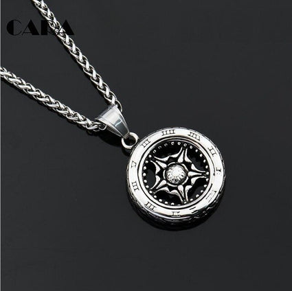 Men's Jewelry Men Necklace Round Wheel Pendants for boy 316 Stainless Steel High quality CAGF0180 new necklace 2020 halloween