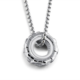 EyeYoYo Versatile Necklace Classic Tires Wheels, Men's Titanium Steel Pendant
