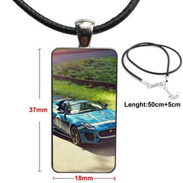 For Women Gift Domineering Sports Car Fashion Glass Cabochon Pendant Necklace With Women Steel Plated Statement Jewelry