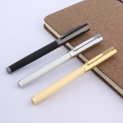 carbon fiber Gun gray wave Brushed with golden SILVER Trim Rollerball pen