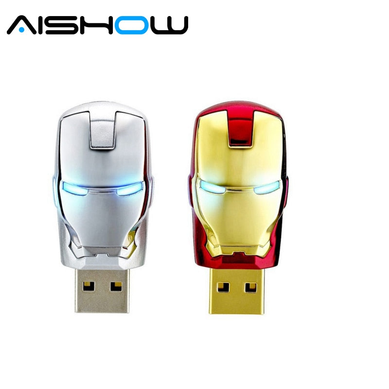 Special offer pen drive 4gb 8gb 16gb 32gb 64gb Metal Iron man USB memory flash card+ LED light flash drive Superman pendrives