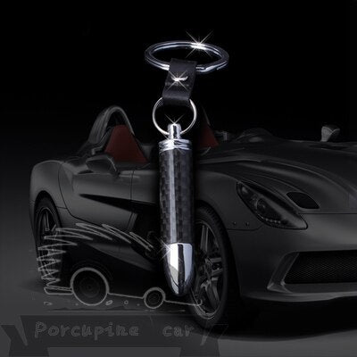 3D Key Chain Carbon Fiber bullet Exhaust Tube Style Metal Car Key Pendant Chain For Motorcycle Ring Auto Car Key Holder