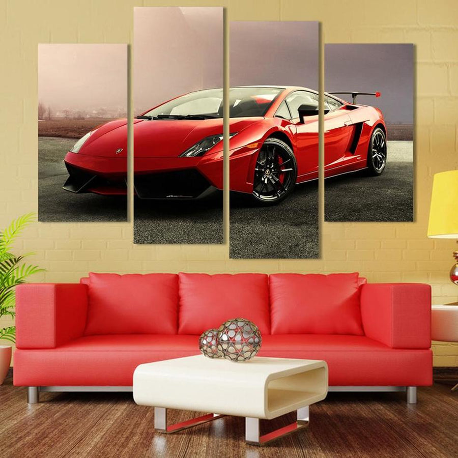 4 Pcs Red Sports Car Wall Art Picture Home Decoration Living Room Canvas Print Painting Wall picture printing on canvas