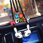 Car Pendant Joking Two-Hand Middle Finger Rearview Mirror Hanging Charm Hip Hop JDM Ornaments Colorful NO MONEY Badge Auto Decor