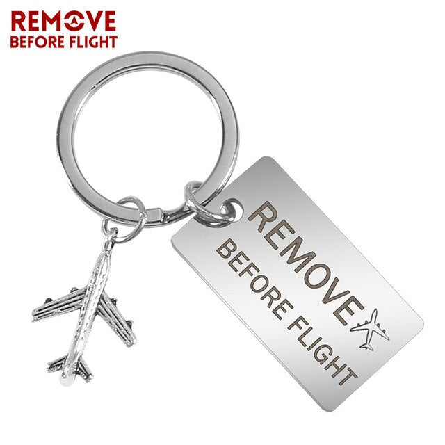 Creative Plane Keychain Remove Before Flight Car Key Chains Mens Key Ring Chain for Aviation Gifts Airworthy Metal Keychains