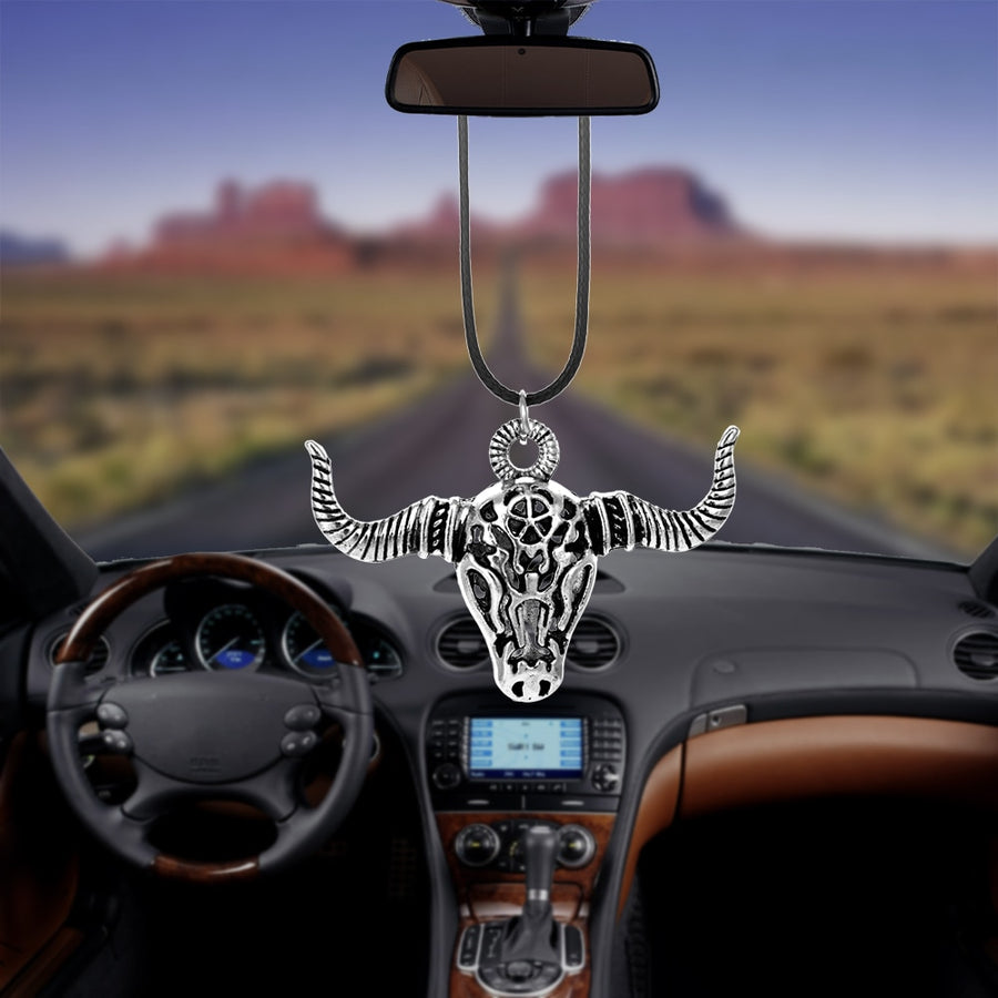 Car Pendant Rearview Mirror Decoration Zinc Alloy OX Horn Auto Bull Hanging Ornament Automobiles Interior Accessories Decor Gift