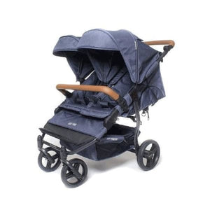 Baby Monsters Easy Twin 2.0 Complete Double Stroller - Denim - Double Stroller