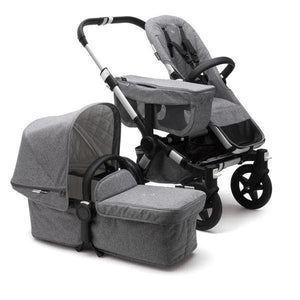 Bugaboo Donkey² Mono Extension Set Complete Set - Classic: Aluminum / Grey Melange - Convertible Stroller