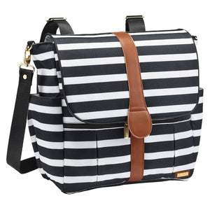 JJ Cole Backpack Diaper Bag - Black & White Stripe - Stroller Bag