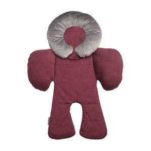 JJ Cole Body Support - Wine Triangles With Gray Velour - Baby Body Cushion