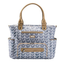 Load image into Gallery viewer, JJ Cole Caprice Diaper Bag - 2018 Slate Watercolor Chevron - Stroller Bag