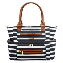 Load image into Gallery viewer, JJ Cole Caprice Diaper Bag - Black & White Stripe - Stroller Bag