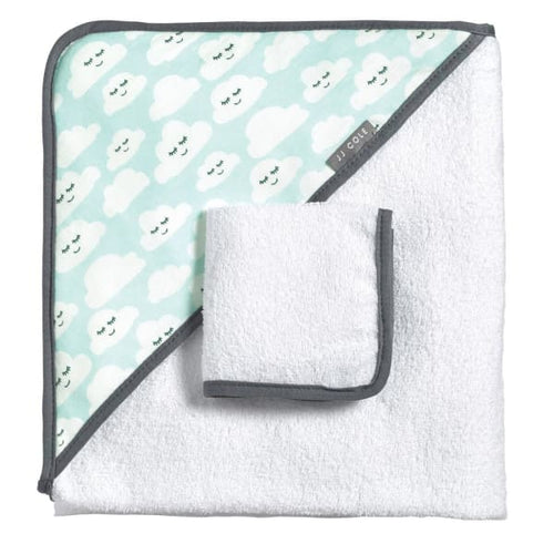 JJ Cole Hooded Towel - Cloudy Smiles - Baby Bath