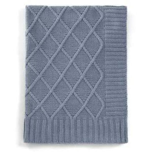 Knitted Baby Blanket - Denim Blue - Baby Blanket