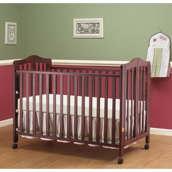 Lisa Full Size Folding Crib - Cherry - Portable Folding Crib
