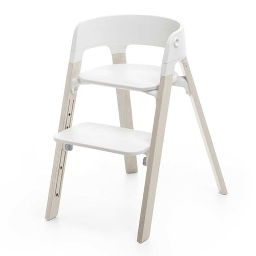 Stokke Steps Chair With Legs And Seat - Whitewash Legs with White Seat - High Chairs