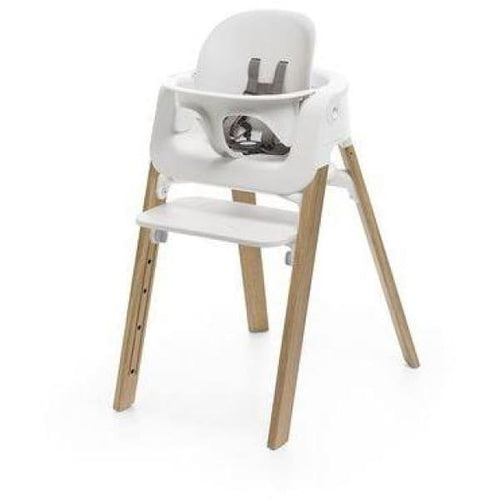 Stokke Steps High Chair With Legs Seat Baby Set And Tray - White accessories with Natural Legs - High Chairs