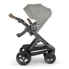 Load image into Gallery viewer, Stokke Trailz Black Chassis With Brown Handle - Brushed Grey - Convertible Stroller