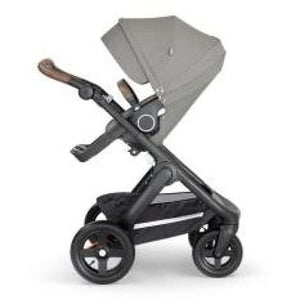 Stokke Trailz Black Chassis With Brown Handle - Brushed Grey - Convertible Stroller