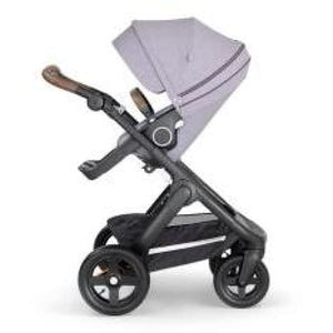 Stokke Trailz Black Chassis With Brown Handle - Brushed Lilac - Convertible Stroller