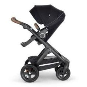 Stokke Trailz Black Chassis With Brown Handle - Black - Convertible Stroller