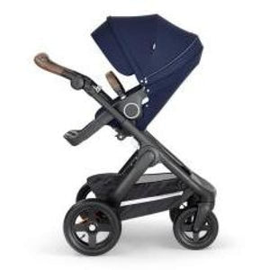 Stokke Trailz Black Chassis With Brown Handle - Deep Blue - Convertible Stroller