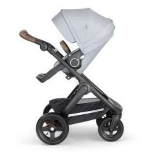 Stokke Trailz Black Chassis With Brown Handle - Grey Melange - Convertible Stroller