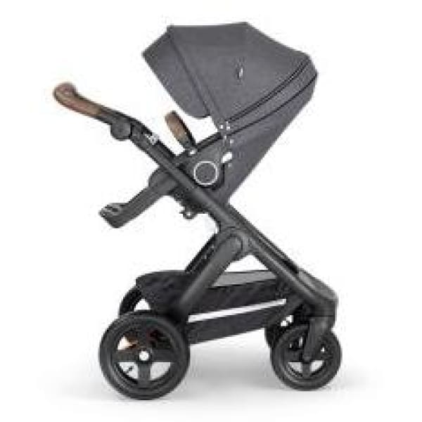 Stokke Trailz Black Chassis With Brown Handle - Black Melange - Convertible Stroller