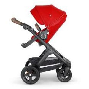 Stokke Trailz Black Chassis With Brown Handle - Red - Convertible Stroller