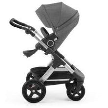 Load image into Gallery viewer, Stokke Trailz Silver Chassis With Wheels (Incl. Mosquito Net And Rain Cover) - Black Melange / Black Wheels - Convertible Stroller