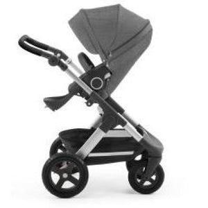 Stokke Trailz Silver Chassis With Wheels (Incl. Mosquito Net And Rain Cover) - Black Melange / Black Wheels - Convertible Stroller