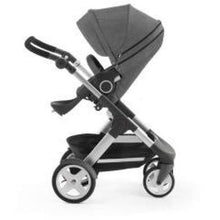Load image into Gallery viewer, Stokke Trailz Silver Chassis With Wheels (Incl. Mosquito Net And Rain Cover) - Black Melange / White Wheels - Convertible Stroller
