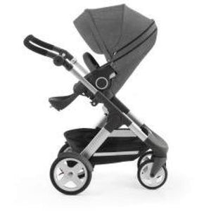 Stokke Trailz Silver Chassis With Wheels (Incl. Mosquito Net And Rain Cover) - Black Melange / White Wheels - Convertible Stroller