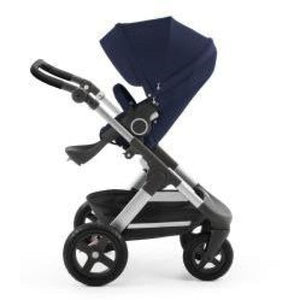 Stokke Trailz Silver Chassis With Wheels (Incl. Mosquito Net And Rain Cover) - Deep Blue / Black Wheels - Convertible Stroller
