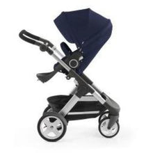 Load image into Gallery viewer, Stokke Trailz Silver Chassis With Wheels (Incl. Mosquito Net And Rain Cover) - Deep Blue / White Wheels - Convertible Stroller