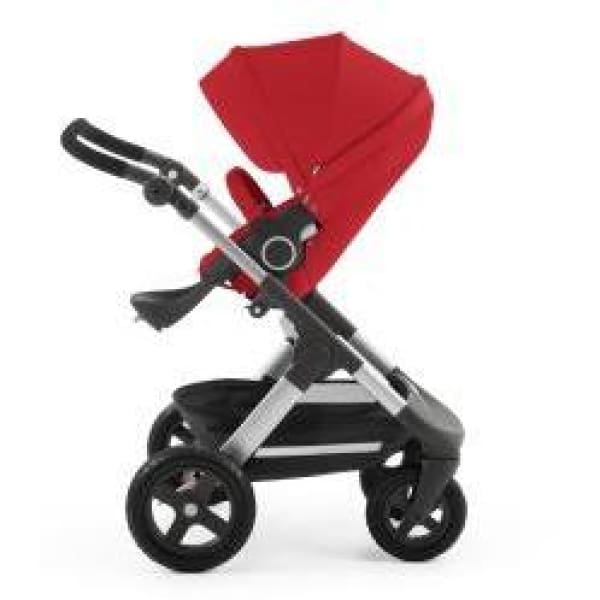 Stokke Trailz Silver Chassis With Wheels (Incl. Mosquito Net And Rain Cover) - Red / Black Wheels - Convertible Stroller