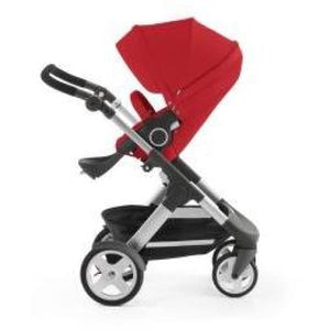 Stokke Trailz Silver Chassis With Wheels (Incl. Mosquito Net And Rain Cover) - Red / White Wheels - Convertible Stroller
