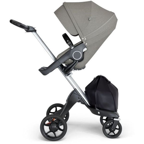 Stokke Xplory V6 Silver Chassis & Stroller Seat - Brushed Grey and Black Handle - Convertible Stroller