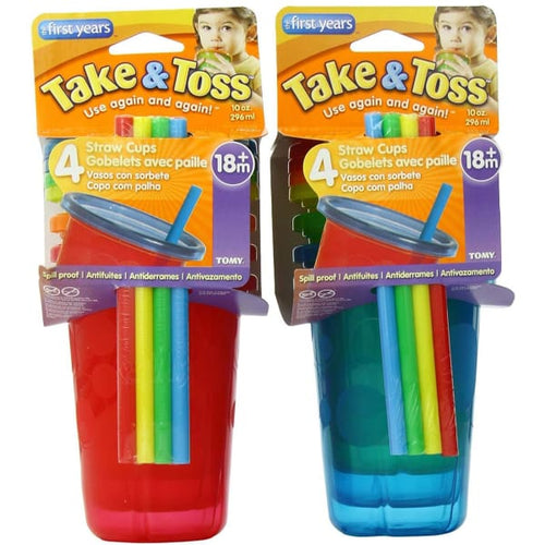 The First Years Take & Toss 10Oz Straw Cups 4 Pk - Baby Feeding