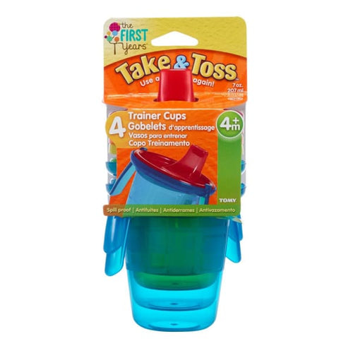 The First Years Take & Toss 7Oz Spill Proof Sippy Cups 4 Pk With 2 Handles - Baby Feeding